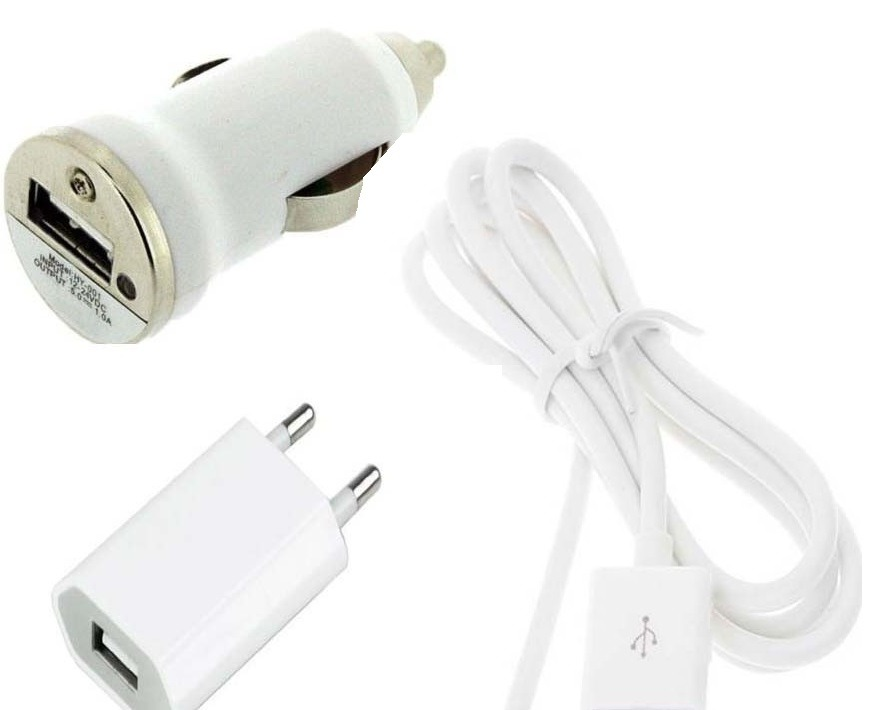 3 in 1 Charging Kit for Micromax A106 Unite 2 with USB Wall Charger, Car Charger & USB Data Cable