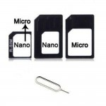 Sim Adapter For Apple iPhone 5S Nano Sim to Micro Sim / Regular Sim with Ejector Pin