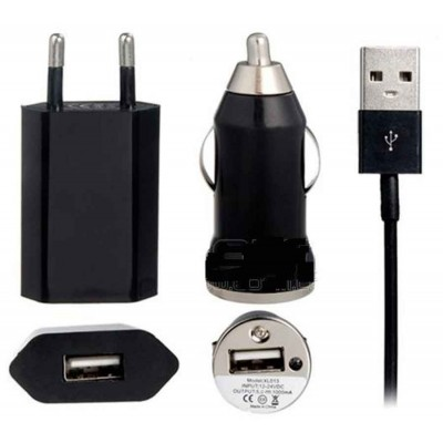 3 in 1 Charging Kit for Micromax Bolt A069 with USB Wall Charger, Car Charger & USB Data Cable